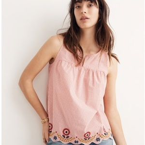 NWT Madewell Embroidered Gingham Tank Top